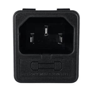 """IEC 60320 C14 AC Power Inlet with Fuse holder (One Active, One spare), 0.250"""" Terminals"""