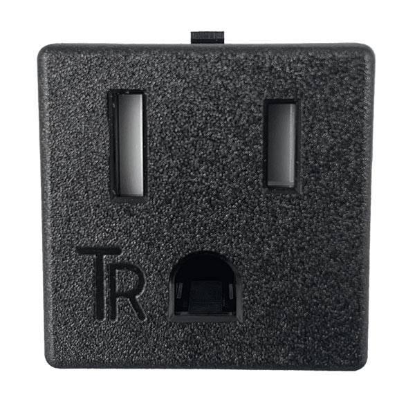 NEMA 5-15R Tamper Resistant Snap-in AC Power Outlet with Solder Terminals