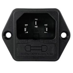 "IEC 60320 C14 Screw Mount AC Power Inlet with Fuseholder (Dual Active), 0.187"" Terminals"