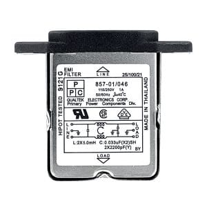 Screw Mount IEC 60320 C14 Inlet Filter with Right Angled Terminals