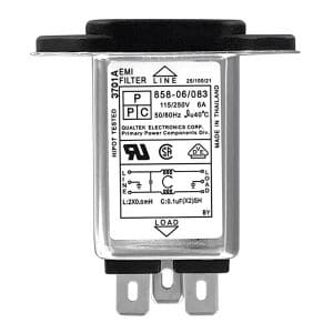 """Screw Mount IEC 60320 C14 Inlet Medical Filter with 0.250"""" FASTON Terminals"""