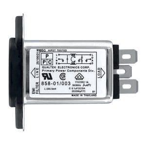 """858-01/003 Screw Mount IEC 60320 C14 Inlet Filter with 0.250"""" FASTON Terminals"""