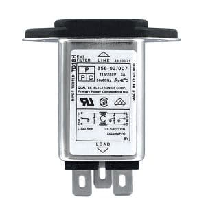 """Screw Mount IEC 60320 C14 Inlet Filter with 0.250"""" FASTON Terminals"""