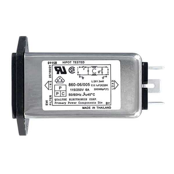 """Single Fused Screw Mount IEC 60320 C14 Inlet Filter with 0.250"""" FASTON Terminals"""