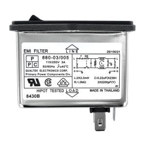 Single Fused Screw Mount IEC 60320 C14 Inlet Filter with DPST Switch
